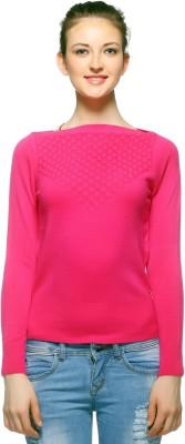 Fasnoya Woven Round Neck Casual Women's Pink Sweater