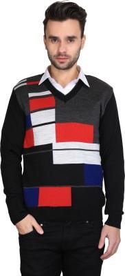 BRAVEZI Self Design V-neck Casual Men,s Black, Red, Grey Sweater