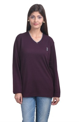 Eprilla Solid V-neck Casual, Formal Women's Maroon Sweater