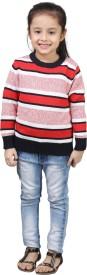 Crazeis Printed Round Neck Casual Girls Red, Pink Sweater