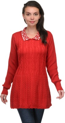 Belle Solid V-neck Casual Women,s Red, White Sweater