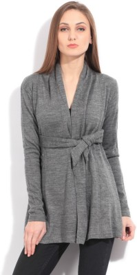 Elle Solid Casual Women's Grey Sweater
