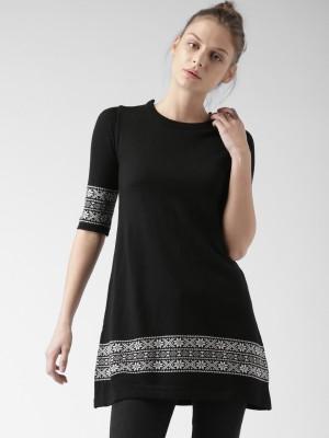 Mast & Harbour Self Design Round Neck Casual Women,s Black Sweater