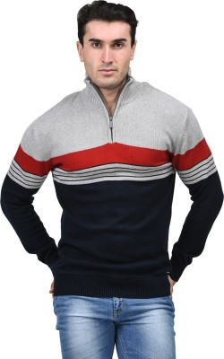 Mettle Striped Turtle Neck Men's Dark Blue Sweater