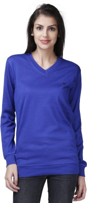 Buff Solid V-neck Casual Women's Blue Sweater