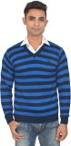 Marc Malon Striped V-neck Casual Men Blu...