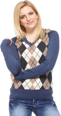 Fasnoya Argyle V-neck Casual Women's Blue Sweater
