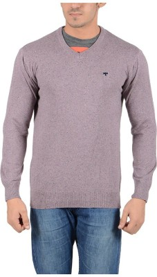 Reveller Solid V-neck Casual Men's Purple Sweater