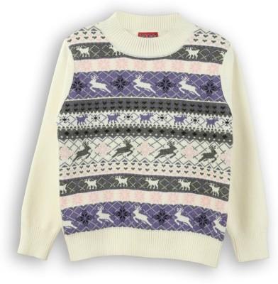Lilliput Self Design Round Neck Casual Girl's White Sweater