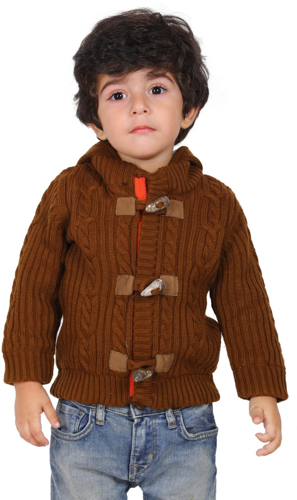 Yellow Apple Solid Round Neck Casual Boys Brown Sweater