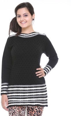 Cee-For Checkered Round Neck Casual Women's Black Sweater
