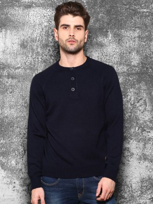 WROGN Solid Round Neck Casual Men's Blue Sweater