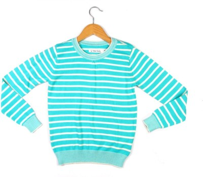 Allen Solly Striped Round Neck Girl's Blue Sweater