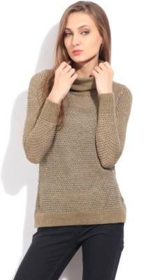 Arrow Self Design Casual Women's Brown Sweater