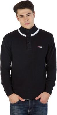 Fila Striped Round Neck Sports Men's Black, White Sweater