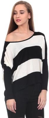 Saiints Casual Full Sleeve Striped Women's Black Top
