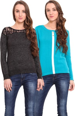 Northern Lights Solid Round Neck Casual Women's Grey, Black, Blue Sweater
