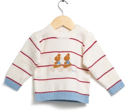 Zonko Style Striped Round Neck Casual Boy's White Sweater