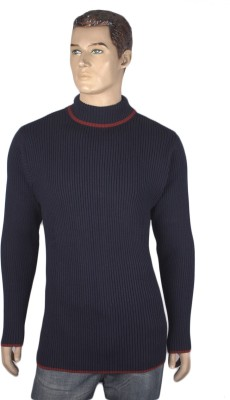 Nolex Self Design Turtle Neck Casual Men's Blue, Maroon Sweater