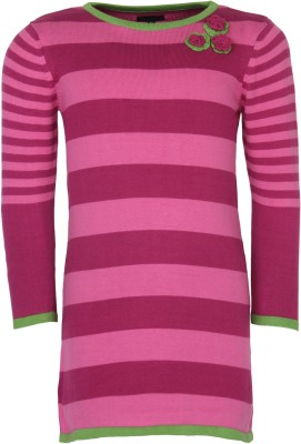 Bells and Whistles Striped Round Neck Casual Girl's Pink Sweater