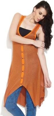 Remanika Striped V-neck Casual Women's Orange Sweater