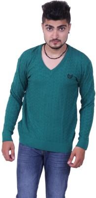 Austrich Striped V-neck Casual Men's Green Sweater