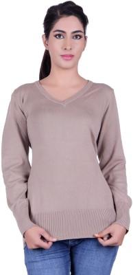 Deutz Solid V-neck Casual Women's Beige Sweater