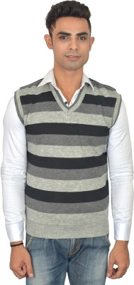 Zhomro Striped V-neck Casual Men,s Grey, Black Sweater