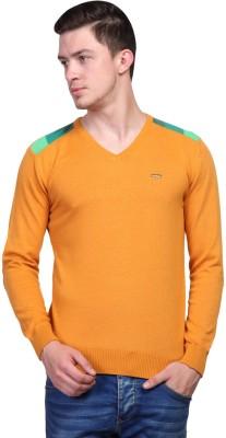 TSAVO Solid, Applique V-neck Casual Men's Orange Sweater