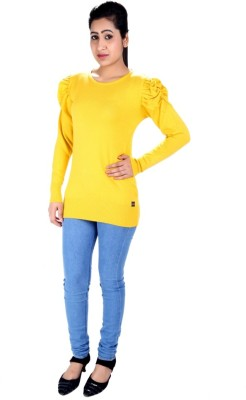 SLS Solid Round Neck Casual Women's Yellow Sweater