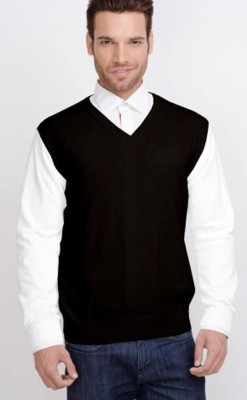 Zhomro Solid V-neck Formal, Casual Men,s Black Sweater