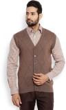 Raymond Solid V-neck Men Brown Sweater