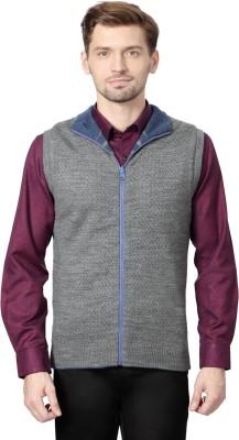 Peter England Striped Round Neck Men's Grey Sweater