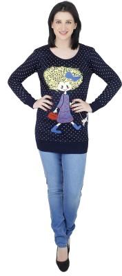 Camey Polka Print Round Neck Casual Women's Black Sweater