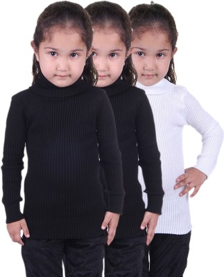 Lienz Striped Turtle Neck Casual Girls Black, Black, White Sweater