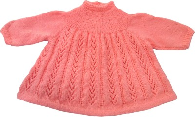 Ubique Self Design Turtle Neck Party, Festive, Casual Girl's Pink Sweater