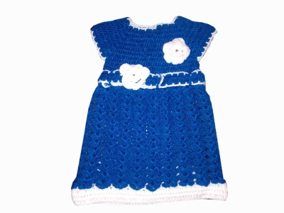 Sawo Woven Round Neck Party Baby Girls Blue Sweater