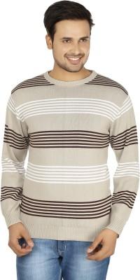 Fizzaro Striped Round Neck Casual Men's Beige, Brown Sweater