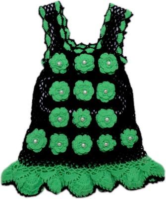 AV Embroidered Round Neck Casual Baby Girl's Black, Green Sweater