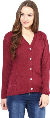 The Vanca Solid V-neck Women's Red Sweater