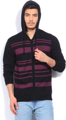 Puma Striped Casual Mens Black, Purple Sweater