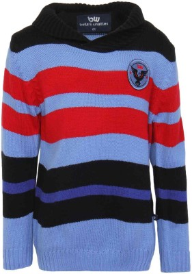 Bells and Whistles Striped Round Neck Baby Girl's Blue Sweater