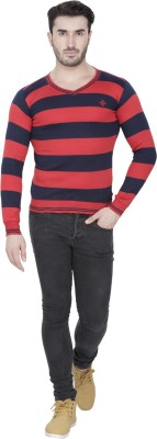 Alay Striped V-neck Casual, Party, Formal, Sports, Festive, Lounge Wear Men's Red Sweater