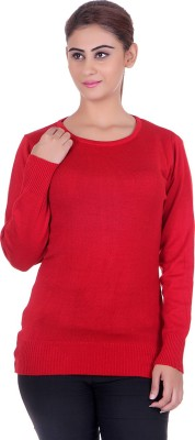 eCools Solid Round Neck Party Women's Red Sweater
