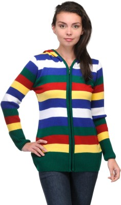 Belle Striped Round Neck Casual Women,s Multicolor Sweater
