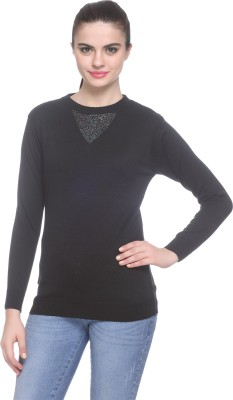 Miss Grace Solid Round Neck Party Women's Black Sweater
