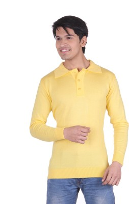 Vivid Bharti Solid V-neck Casual, Party, Formal Men's Yellow Sweater