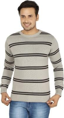 Fizzaro Striped Round Neck Casual Men's Grey Sweater