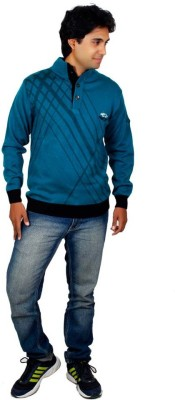 Alpine Enterprises Solid Round Neck Men's Blue Sweater