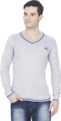 Alay Solid V-neck Casual Men's Grey Sweater